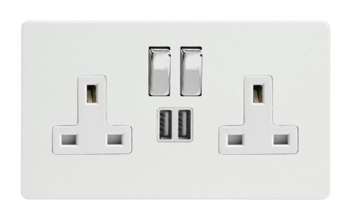 Varilight XDQ5U2SWS Screwless Premium White 2 Gang Double 13A Switched Plug Socket 2.1A USB
